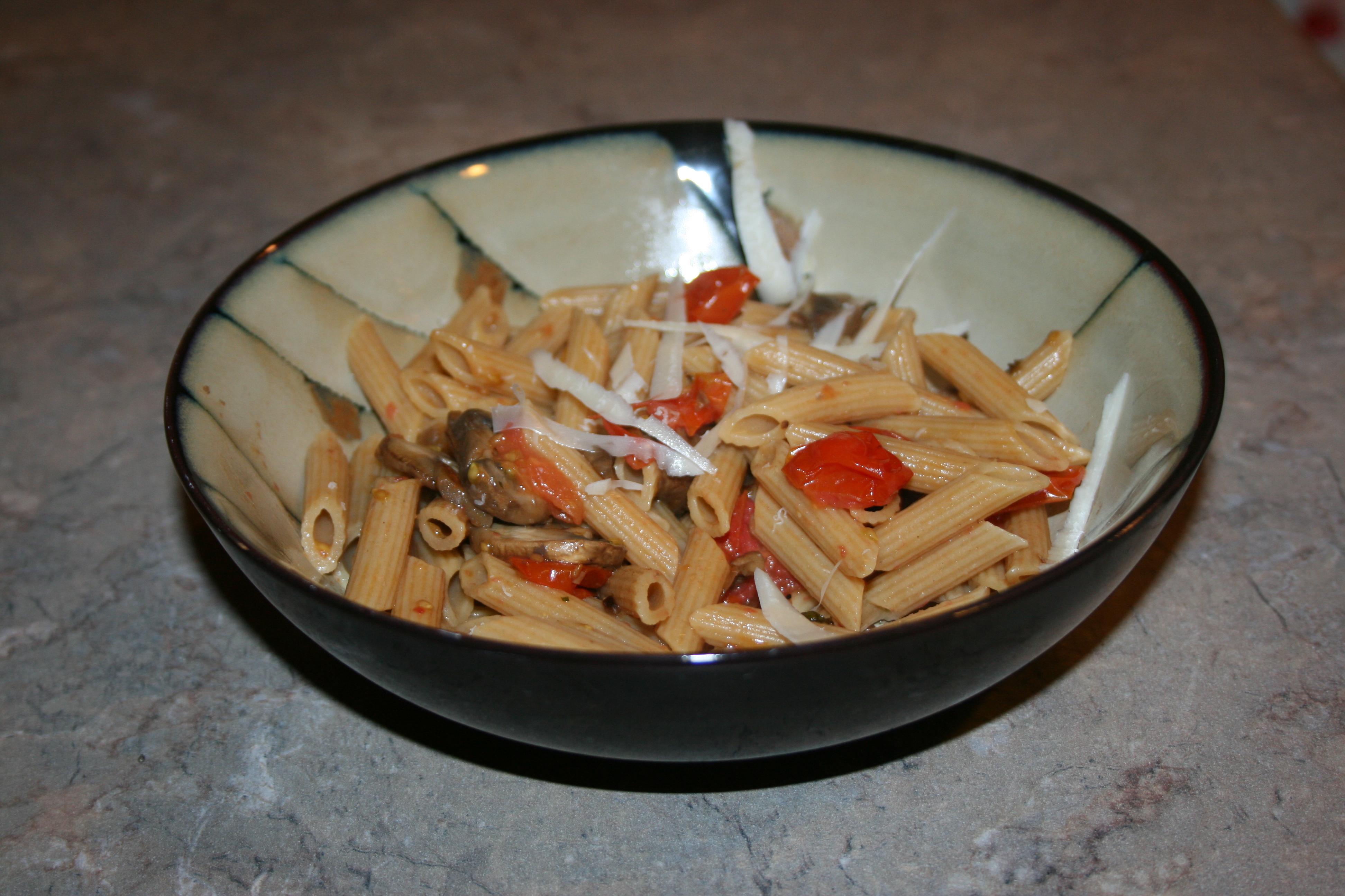 Mushroom and Tomato Penne Pasta